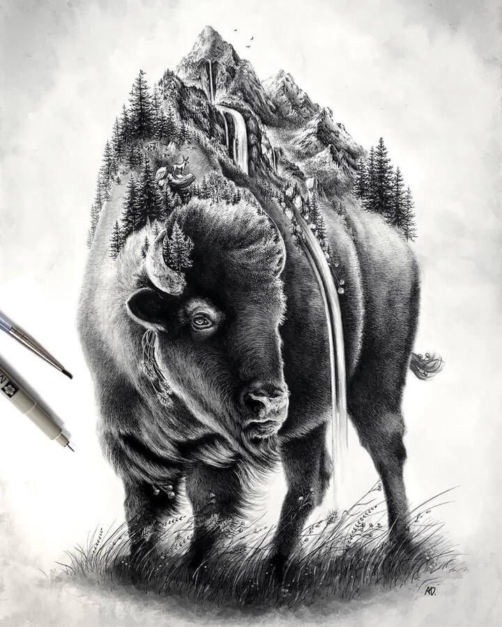 01-Bison-Alyse-Dietel-Animal-Drawings-Surrealism-www-designstack-co