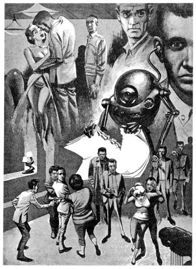 A montage: A fellow holding a gun on a man; a man and a woman nearly kissing; a one-eyed robot tearing up paper.