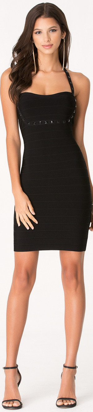 BEBE PYRAMID STUD BANDAGE DRESS