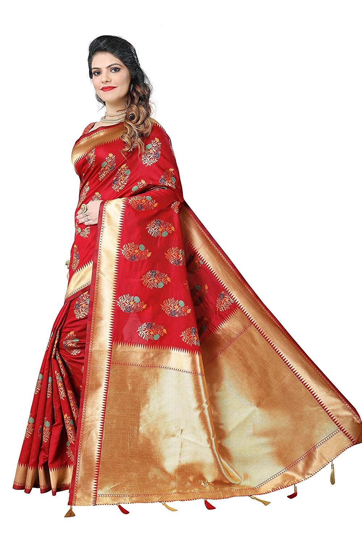 Silky Sarees Women Banarasi Silk Saree With Heavy Blouse Piece