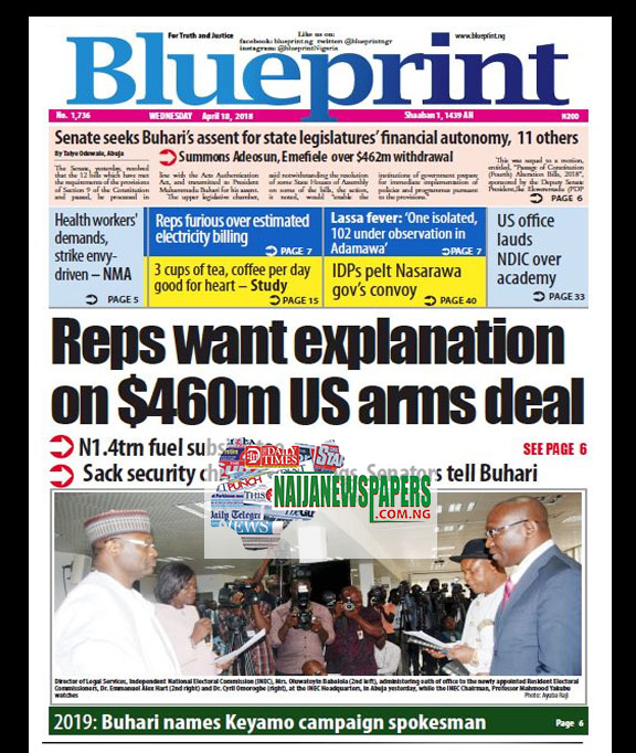 Nigeria newspapers todays the blue print newspaper headlines 18 below are the headlines found on the blueprint online newspaper for today wednesday 18 april 2018 malvernweather Images