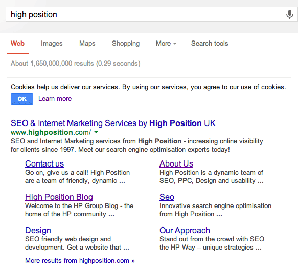 Highposition.com Google Sitelinks Without Board