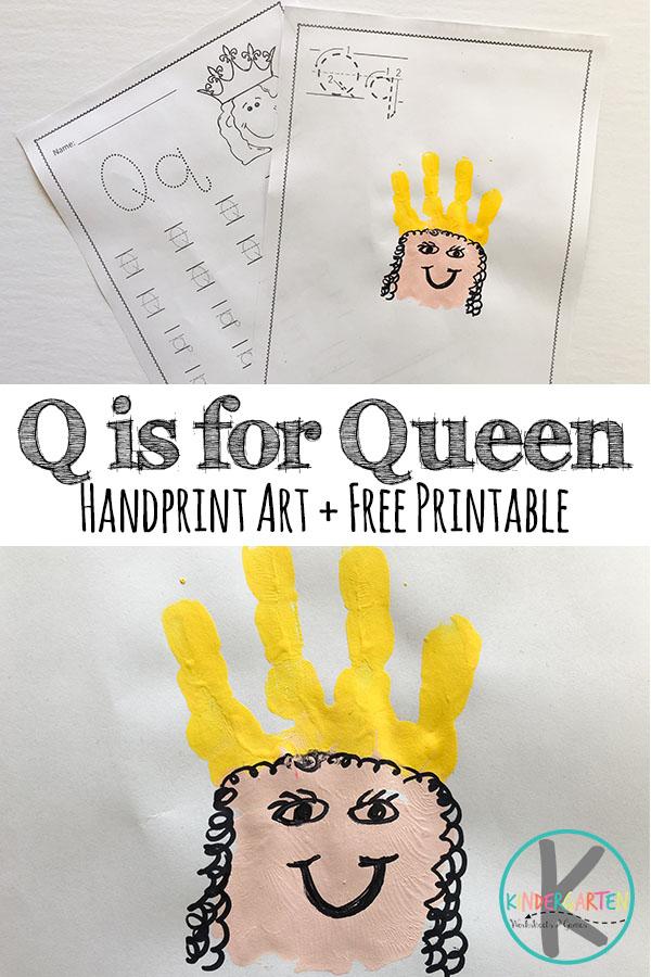 Kindergarten Worksheets And Games Q Is For Queen Handprint Art