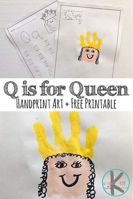 FREE Letter Q Worksheets & Q is for Queen Hand Art craft for kids in preschool, prek, kindergarten, and first grade #letterq #qisforqueen #alphabetcrafts #letteroftheweek #preschool #kindergaten #kindergartenworksheetsandgames #freealphabetworksheets #worksheetsforkids