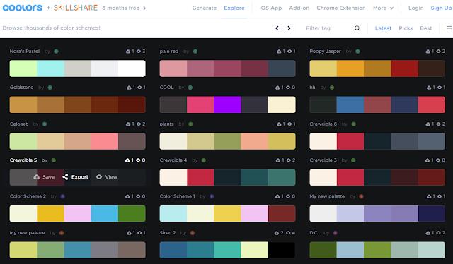 موقع Coolors لإختيار ألوان التصميم