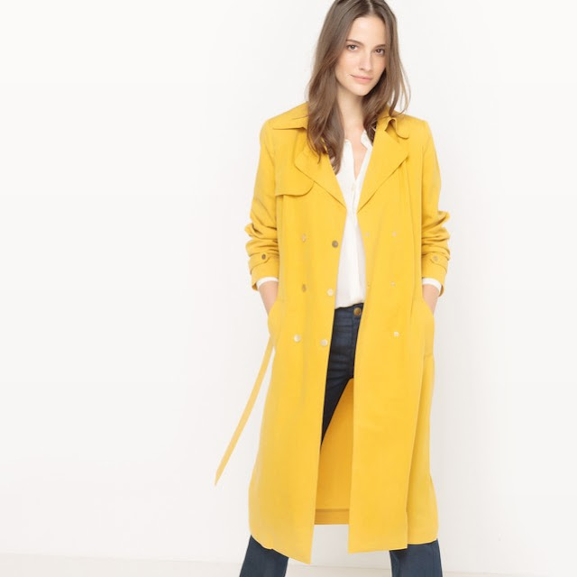 ladies long trench in mustard