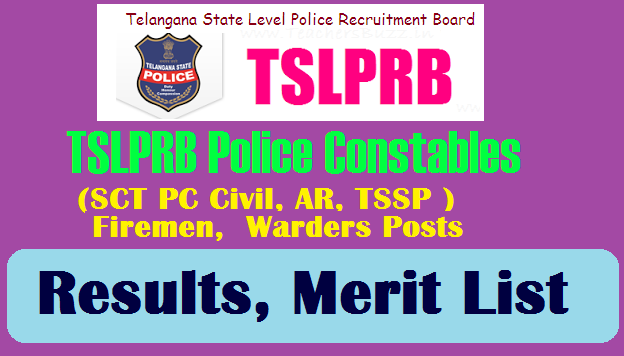 TSLPRB Police Constable Results, Merit List 2018-2019  Telangana PC Results 2018-2019 tslprb.in