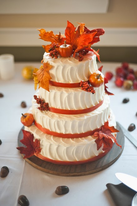 fall wedding cake with buttercream icing