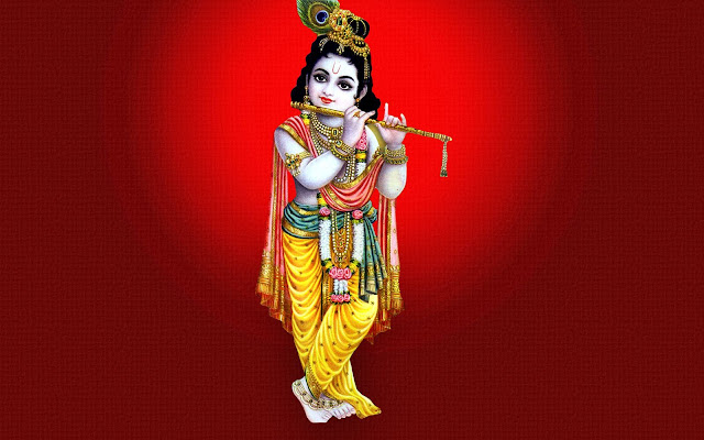 Best God Krishna HD Wallpaper In Red Background