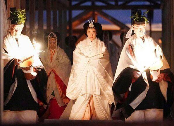Emperor Naruhito, Empress MasakoCrown Princess Kiko, Princess Mako and Princess Kako at thanksgiving ceremony at the Imperial Palace