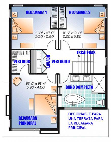 Plano arquitect nico de casa en terreno de 8 x 10 metros for Escaleras 15 metros