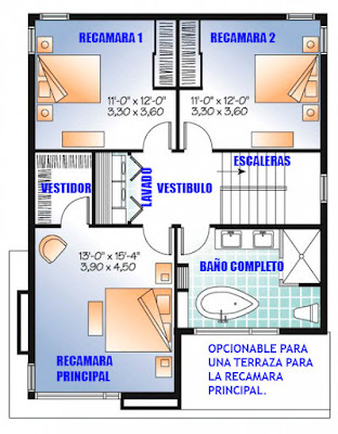 Plano de Casa en Terreno de 8 x 10 metros-Planta-Alta