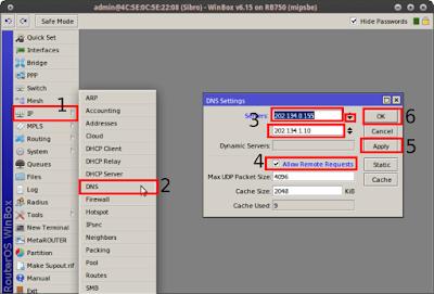 IP > DNS > (masukkan dns) > (centang Allow Remote Request) > Apply > OK