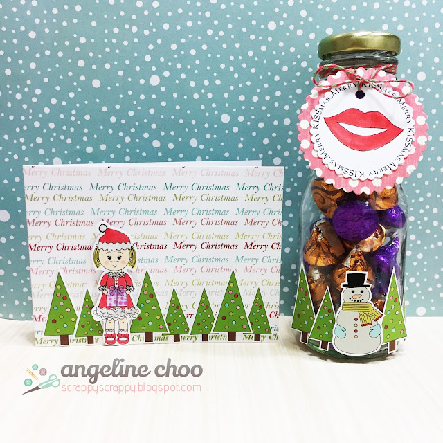 ScrappyScrappy: Merry Kissmas Upcycle Jar and Card with The Cutting Cafe #scrappyscrappy #thecuttingcafe #christmas #holiday #upcycle