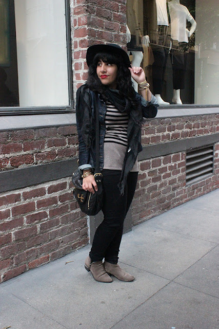 Black Wool Hat Striped Sweater Black Skinny Jeans