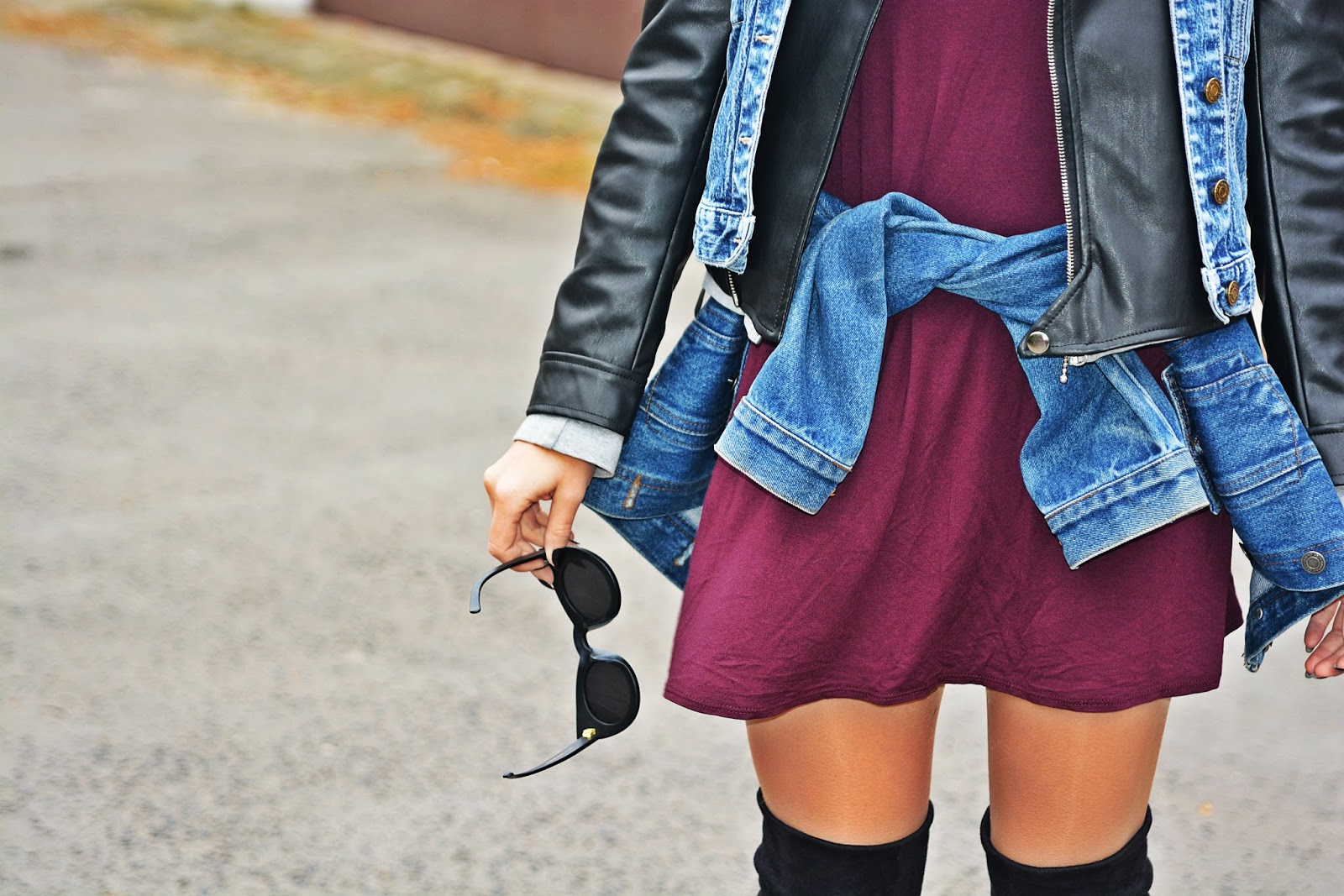 burgundy_dress_biker_jacket_high_knee_boots_karyn45