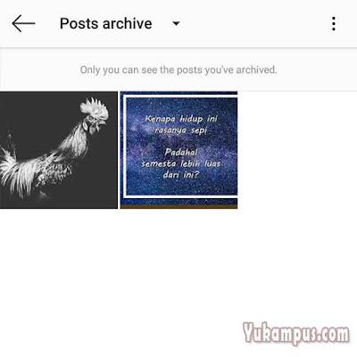 daftar foto yang diarchive instagram