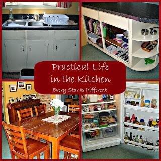 A Montessori-inspired kitchen set up for kids.