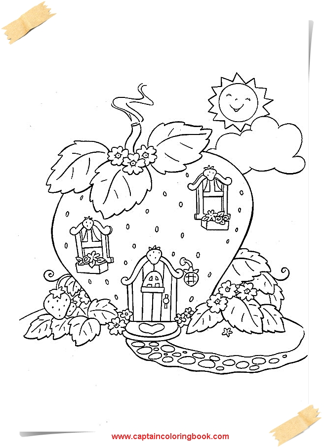 Fruits And Vegetables-Strawberry Coloring Pages - Coloring Page