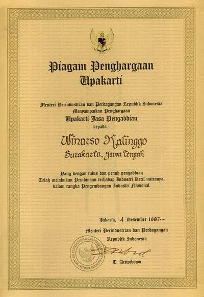 Seragam Batik Solo Piagam Penghargaan Upakarti Menteri Perindustrian dan Perdagangan