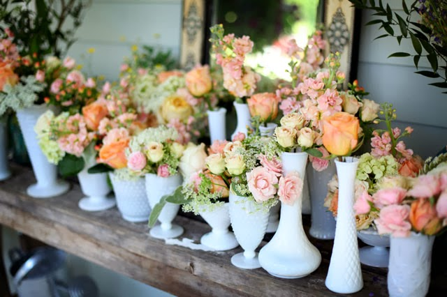 Beautiful Bridal: 9 Stunning Milk Glass Wedding Centerpieces