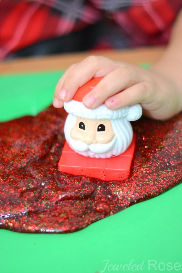 It even SMELLS like Christmas!  Santa Slime Kids Christmas Craft |  Growing a Jeweled Rose