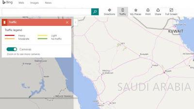 مايكروسوفت توفر معلومات كثافة المرور بخرائط بينج في 55 دولة