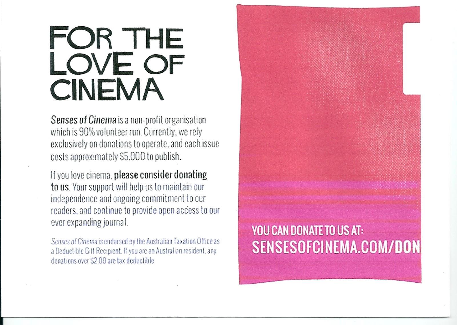 Film Alert 101: Senses of Cinema - Annual Appeal for Funds