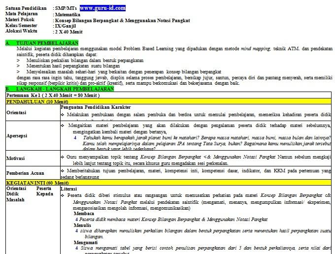 gambar rpp matematika SMP 1 lembar/halaman revisi 2020