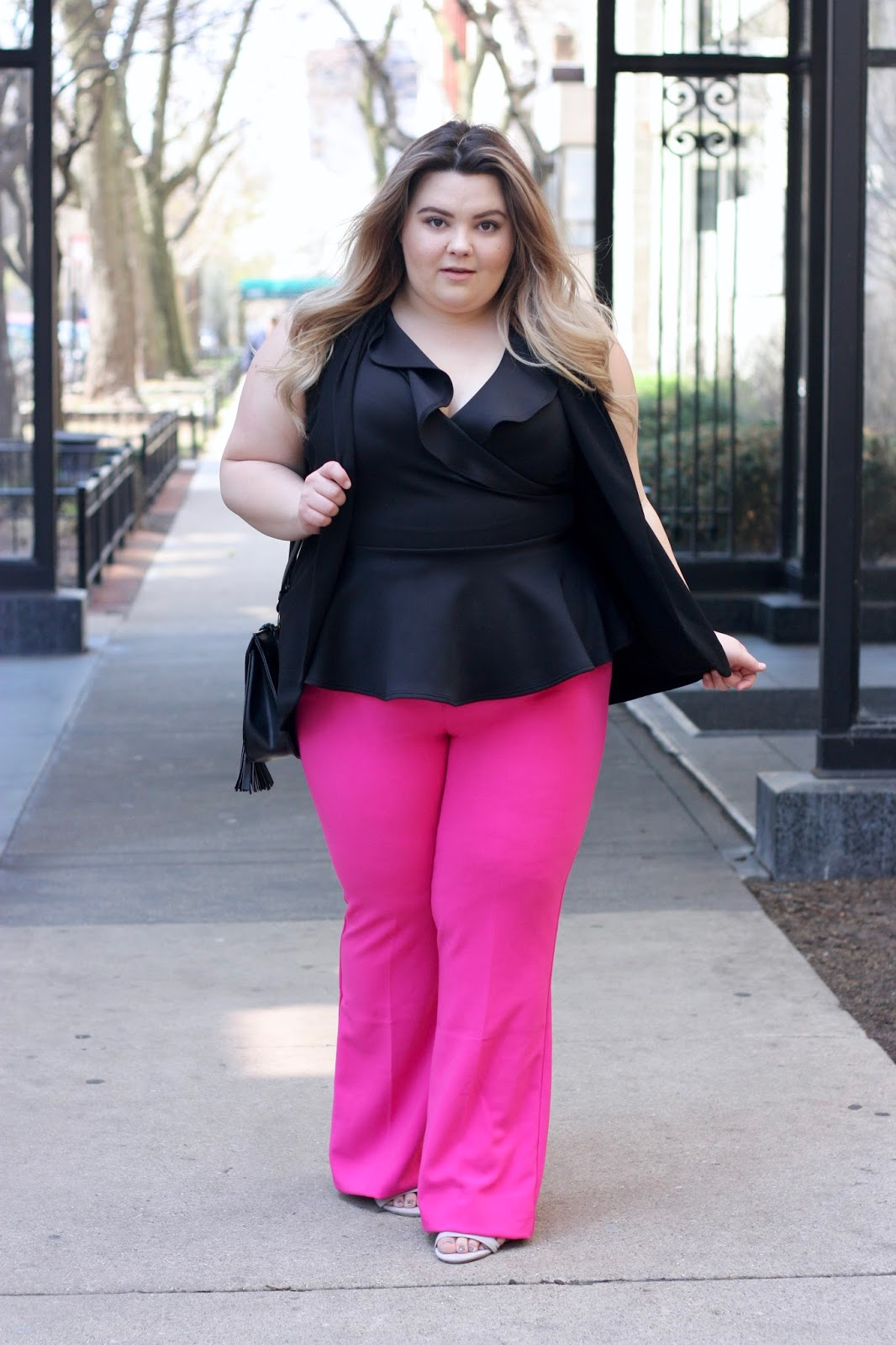Victoria Beckham for Target, Finn Ruffle Trim Peplum Top Fashion to Figure, Women's Plus Fuchsia Twill Flared Trouser - Victoria Beckham for Target, blogger review, Natalie Craig, Natalie in the city, plus size fashion, Victoria Beckham plus size, hot pink pants, pink trousers, plus size fashion for women, fashion forward plus size women, affordable plus size fashion, target plus size, dia & co, plus size styling, chicago blogger, chicago fashion and lifestyle, midwest blogger