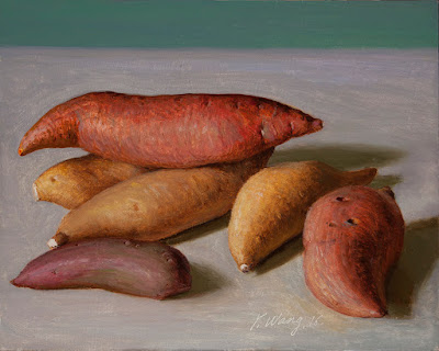 yams oil painting a day still life