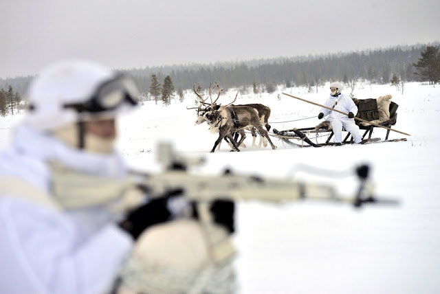 Image Attribute: Russian servicemen of the Northern Fleet's Arctic mechanized infantry brigade participate in a military drill on riding reindeer and dog sleds near the settlement of Lovozero outside Murmansk, Russia January 23, 2017. Picture was taken January 23, 2017. Lev Fedoseyev/Ministry of Defence of the Russian Federation/Handout via REUTERS