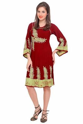 TrendzArt Batik Leaf Motif Embroidered 3/4 Bell Sleeve Bohemian A-Line Dress (Wine Brown - Mehandi Green)