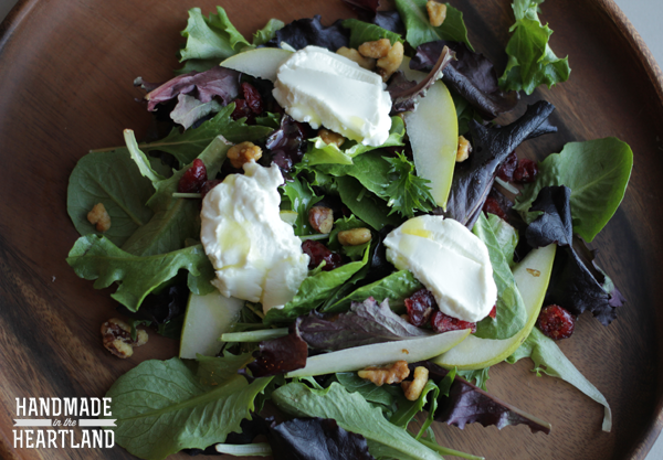 Pear & Goat Cheese Salad with Meyer Lemon Dijon Dressing