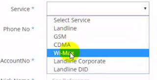 Select bsnl Wimax for wimax bill online pay