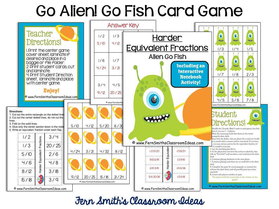 Fern Smith's Classroom Ideas Freebie Friday's FREE Go Alien Equivalent Fractions Go Fish Card Game