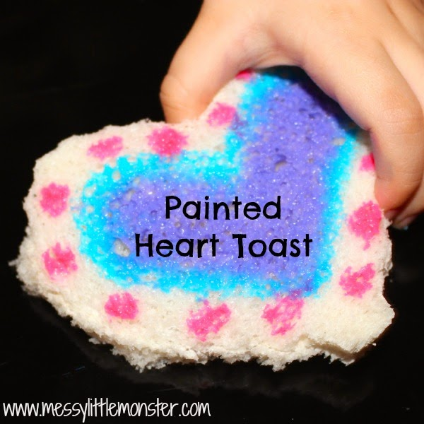 Painted Heart Toast- Edible artwork that makes a perfect valentines day snack.