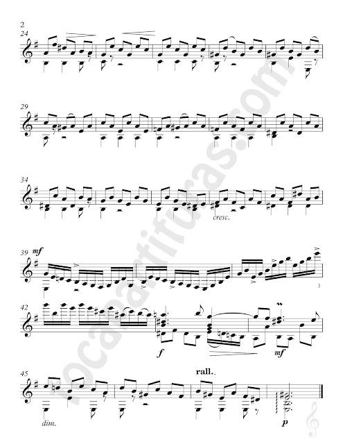 2 Partitura de Guitarra del Preludio V de J. Sebastian Bach del Cuaderno de Ana Magdalena Sheet Music for Guitar Prelude V from Ana Magdalena book's Classical Music Score Moderato