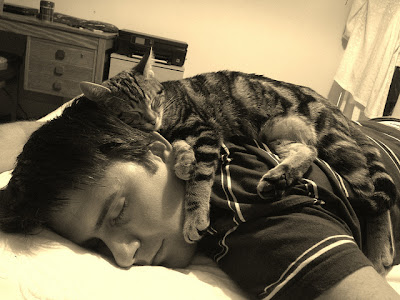 Young white man sound asleep with striped kitten asleep on his neck and shoulders