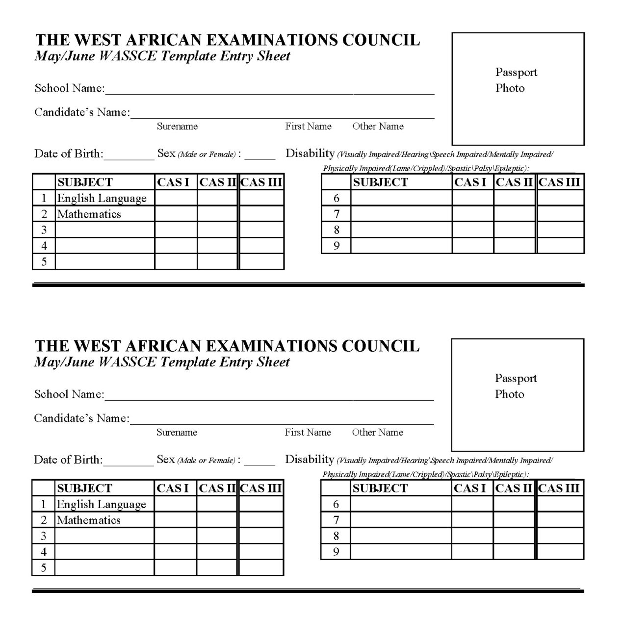 WAEC Registration Template Form For May/June and GCE