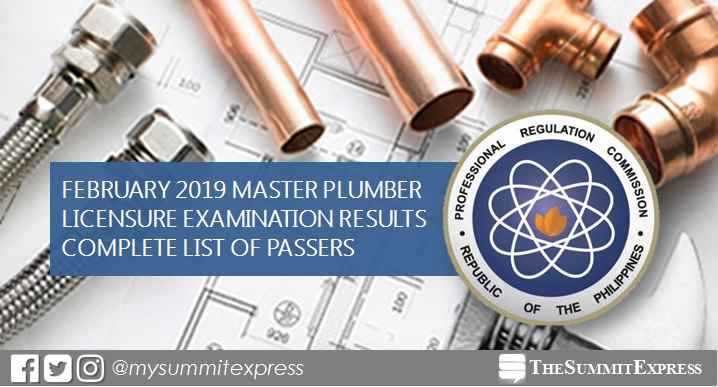 RESULTS: February 2019 Master Plumber board exam list of passers, top 10