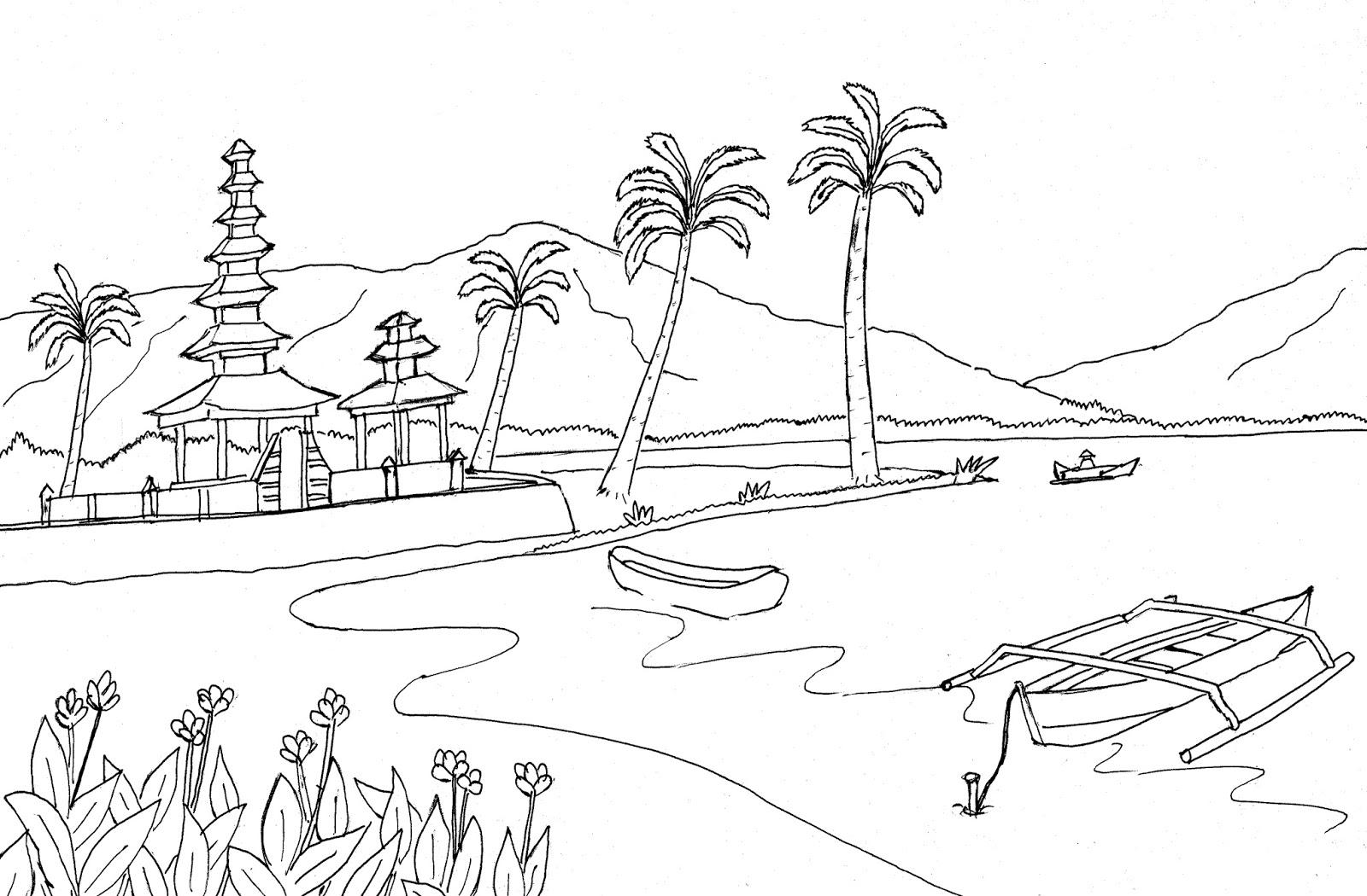 Gambar mewarnai pemandangan pantai Bali pura dan perahu Colouring Bali Beach
