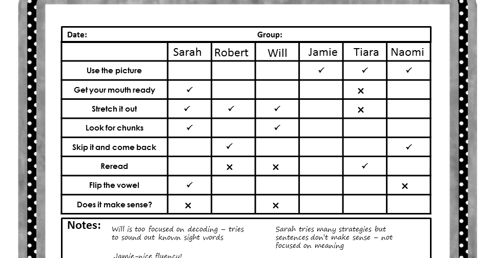 Tracking reading strategies teaching in progress for Tracking sheet template for teachers