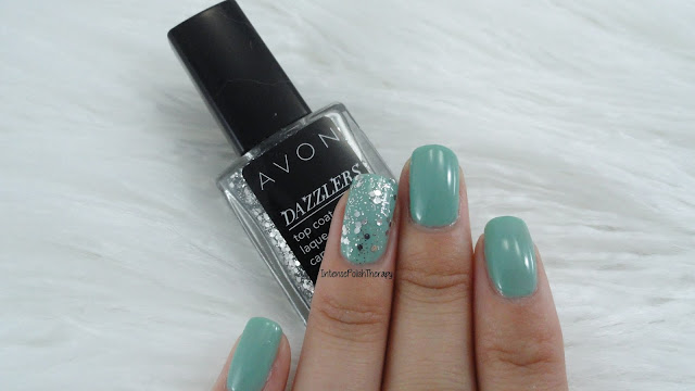 Avon Sea Breeze with Disco Ball on the accent nail