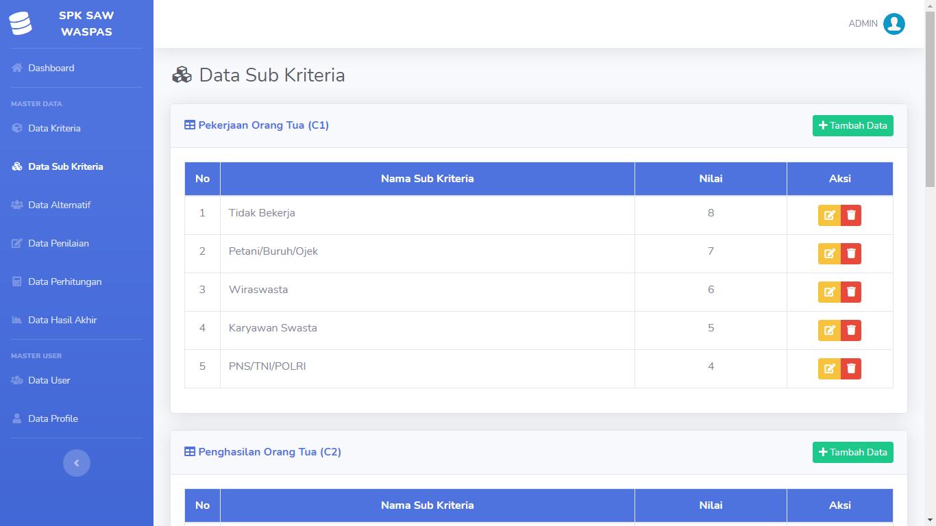 Aplikasi Sistem Pendukung Keputusan Penentuan Penerima Beasiswa Metode SAW Dan WASPAS - SourceCodeKu.com