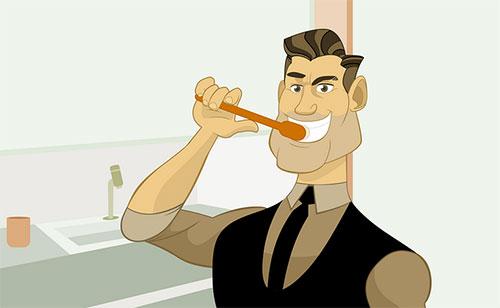 Ilustração Escovando os dentes (Reprodução/Internet)