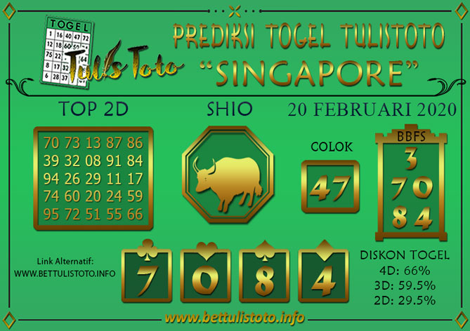 Prediksi Togel SINGAPORE TULISTOTO 20 FEBRUARI 2020