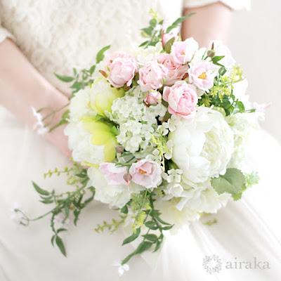 ジャスミンのブーケ(ピンク)-ウェディングブーケと花髪飾りairaka