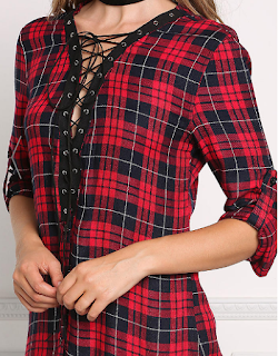 love culture red plaid lace up tunic dress