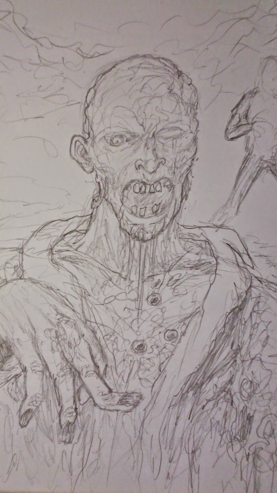 Wayne tully horror art daily sketch journal 12 zombie pencil sketch